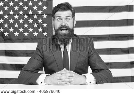 Freedom Is Independence. Happy Businessman Celebrate Independence Day. Bearded Man On American Flag