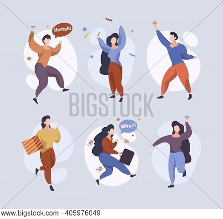 Happy Jumping Characters. Joyful People Running Standing Jumping Funny Celebrate Persons Male Female