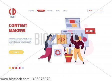 Programmers Landing. Coders And Web Designers Working Freelancer Persons Garish Vector Template. Ill