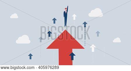 New Possibilities, Hope, Dreams - Business Or Carreer Achievements Concept - Brave Businessman Flies