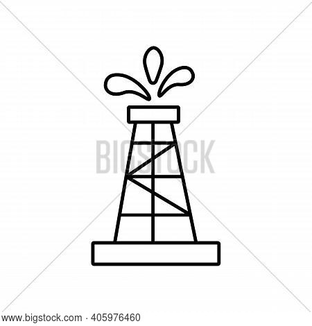Oil Rig Icon Isolated On White Background. Simple Illustration Of Oil Rig Icon For Web. Oil Industry