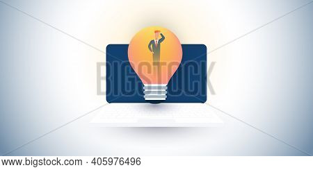 New Possibilities, Ideas, Hope, Dreams - Confused Business Man With Laptop Computer And Light Bulb -