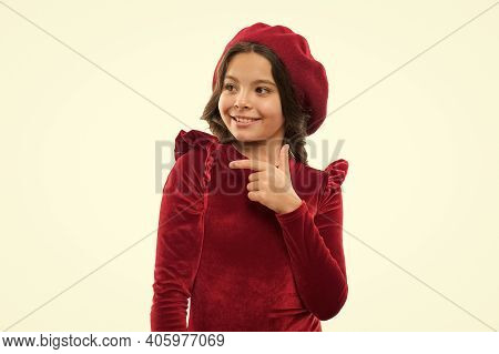French Style Child. Parisian Girl In Beret. Cute Girl With Dark Hair. Stylish Brunette. Fashion Port