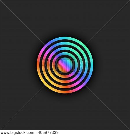 Target Logo Trendy Bright Gradient, Diverging Circles From The Center With 3d Effect