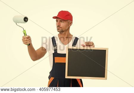 Learn New Skills And Develop Your Career. Decorator Hold School Blackboard And Paint Roller. Painter
