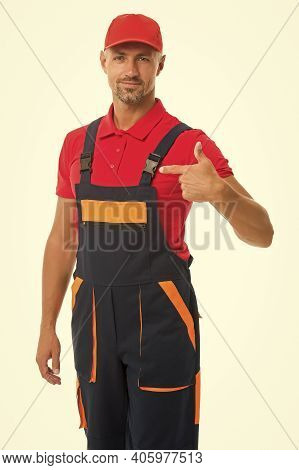 Professional Architecture Pointing Finger. Skilled Architect Repair And Fix. Workman In Overalls. Ma