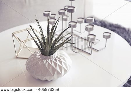 Green Plant In A Vase And Candle Stand On Table In Living Room.