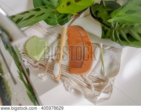 Plastic Free And Reusable Personal Care Products Such As Silicone Cotton Swabs, Bamboo Toothbrush An