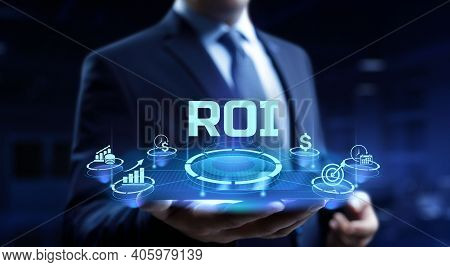 Roi Return On Investment Financial Trading Business Concept.
