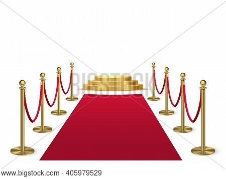 Red Carpet With Stanchions Leading To Golden Podium. Award Hall Of Fame Vector Illustration. Ceremon