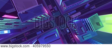 City Top View With Buildings, Cars On Road And Pedestrian Crosswalk At Night. Vector Cartoon Citysca