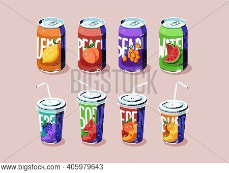 Soda Cups And Cans Set, Cold Drinks Of Various Flavors Lemon, Peach, Watermelon And Sea Buckthorn Or