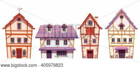 Old Half-timbered Houses In German Village. Traditional Medieval European Buildings. Vector Cartoon