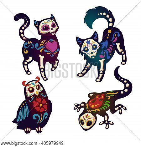 Dia De Los Muertos, Mexican Day Of Dead With Animals Skeletons. Vector Cartoon Set Of Black Cat, Dog