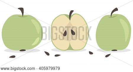 Vector Apples Set. Mini-collection Isolated Hand-drawing Green Apples, Half Apple And Apple Seeds. A
