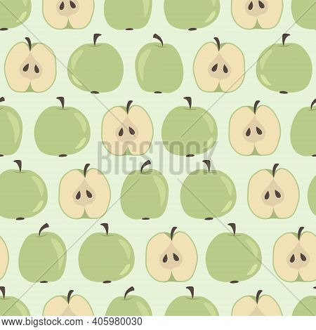 Apple Seamless Pattern. Green Apples And Halfs Apples With Seeds On A Light Green Background. Hand-d