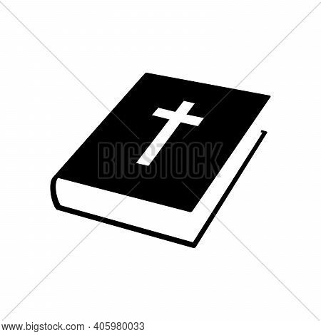 Bible Book Icon. Christian Cross Icon. Black Religion Book. Vector Illustration. Christian Church Bo
