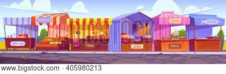 Outdoor Market Stalls, Fair Booths, Wooden Kiosks With Striped Awning, Clothes And Food Products. Wo