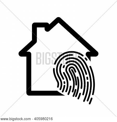 Fingerprint House Icon. Fingerprint Scan Icon. Vector Illustration. Smart House Icon
