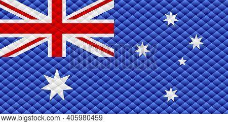 Mosaic Flag Of The Australia - Illustration,  Three Dimensional Flag Of Australia