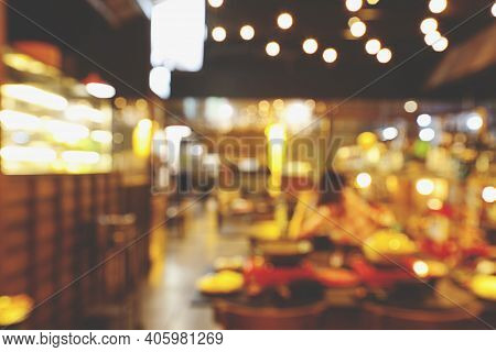 Blur Background Of Sushi Restaurant. Traditional Japanese Cuisine And Small Business In Tokyo, Japan