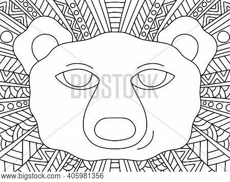 Polar Bear Ornamental Zentangle Stock Vector Illustration. Funny Wildlife Animal With Decorative Bac
