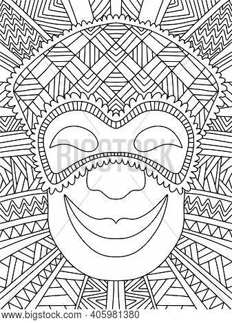 Ornamental Jester In Venetian Mask Stock Vector Illustration. Funny Symmetry Mardi Gras Character Po