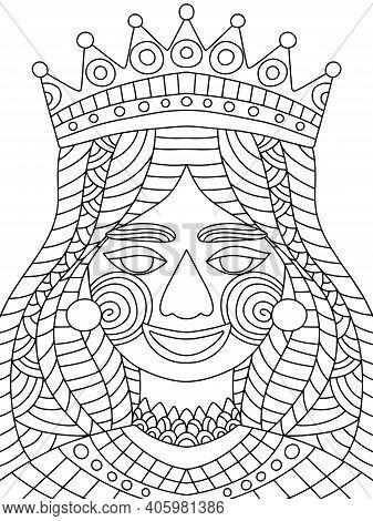 Funny Festival Queen Coloring Page For Mardi Gras Festival Stock Vector Illustration. Decorative Zen
