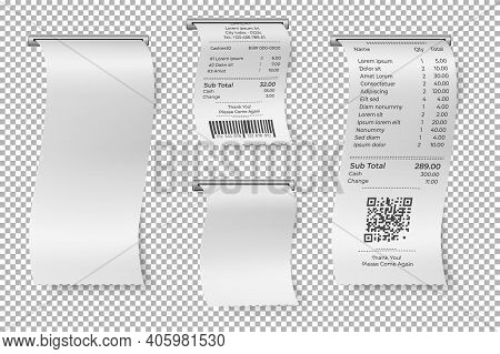 Printed Sale Receipt. Restaurant Bill, Isolated Atm Paper Check. Blank Cashier Receipts Mockup, Shop