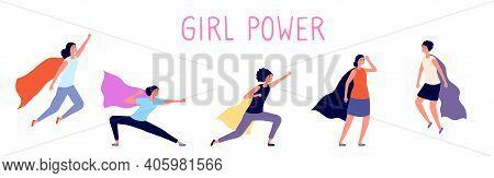 Woman Super Power. Cartoon Girl, Women With Hero Cloak. Flying Female Superhero, Comics Lady Feminis