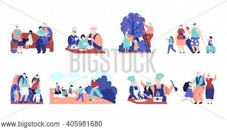 Grandparents And Grandchildren. Old People, Elderly Characters With Relatives. Family Visit, Cartoon
