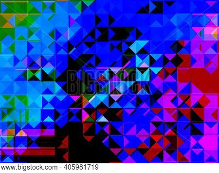 Abstract Volumetric Background In The Form Of Spectacular Colored Triangles, With A Spectacular Comb