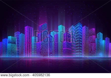 Night City Panorama. Colorful Landscape, Retro Neon Futuristic Cityscape. Beach Downtown Buildings,