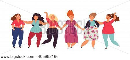 Diverse Woman Banner. Isolated Girls Group, Happy Smiling Women Together. International Feminist Fri