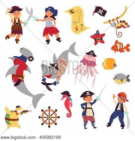 Pirates Life. Sea Wildlife, Ocean Plants Cartoon Shark Fish. Children Costumes, Underwater World Mar