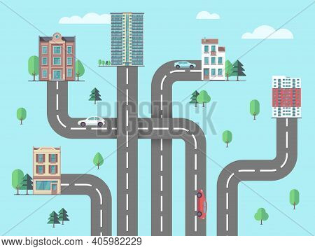 Children Road Map. Suburb Or City, Urbanization Concept. Top View Highway To Buildings, Car Driving
