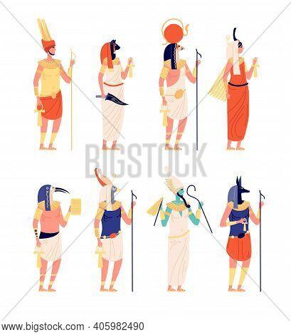 Egypt Characters. Ancients Egyptian God, Old Culture Goddess. Osiris Anubis Statues, Cartoon Histori