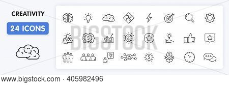 Set Of 24 Creativity And Idea Web Icons In Line Style. Creativity, Finding Solution, Brainstorming,