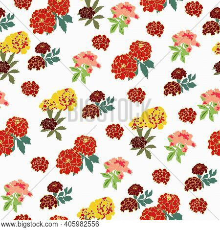 Seamless Pattern With Marigolds Yellow And Burgundy On A White Background