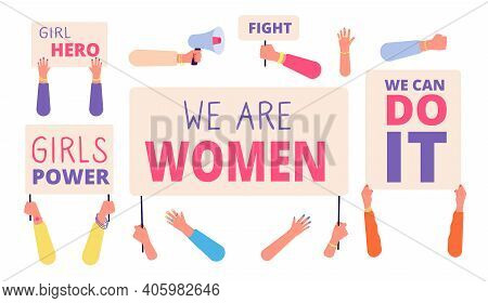 Women Rights Banners. Woman Power, Girl Rights Protest. International Female Community, Hand Hold Di