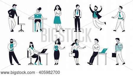 Outline Business Characters. Happy Flat Persons, Linear Smiling Work People Team. Leadership Teamwor