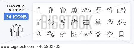 Set Of 24 Teamwork Web Icons In Line Style. Team Work, People, Support, Business. Vector Illustratio