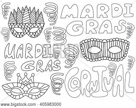Mardi Gras Carnival Coloring Page For Kids And Adults Stock Vector Illustration. Mardi Gras Words, V
