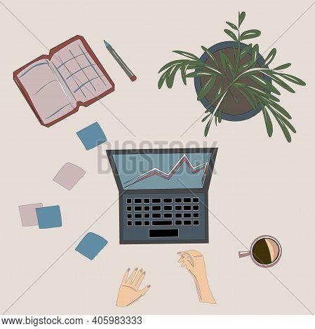 Laptop, Notebook, Stickers, Flower, Coffee
