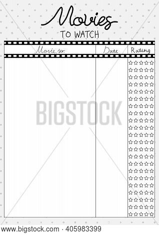 Printable A4 Paper Sheet With Cine-film On Polka Dot Background. Minimalist Planner Of Watching Movi