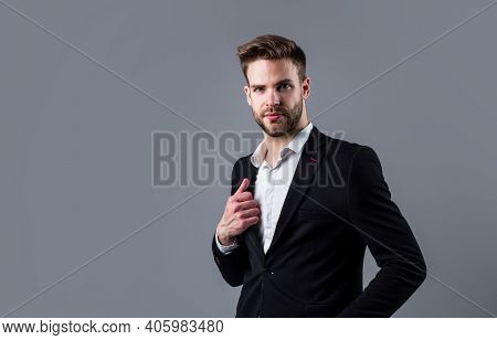 In His Own Style. Well Groomed Hairstyle. Male Beauty And Fashion Look. Formal Office Costume For Be