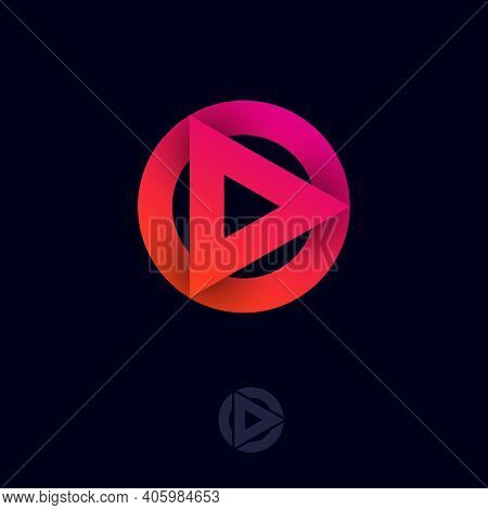 Play Logo. Play Symbol. Triangle And Circle With Shadow. Logo Can Used For Application, Web Icon, Mu