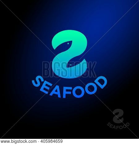 Seafood Logo. Letter S With Two Fishes. S Monogram. Seafood Market Or Restaurant.