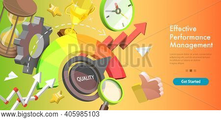 3d Isometric Vector Conceptual Illustration Of Efficient Performance.