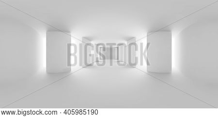 Hdri Environment Map Of Abstract White Empty White Hall With White Floor, Ceiling And Columns, White